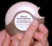 The Diskus® has a dose indicator on the top of the device. Numbers on the dose indicator show how many doses are left in the Diskus®.