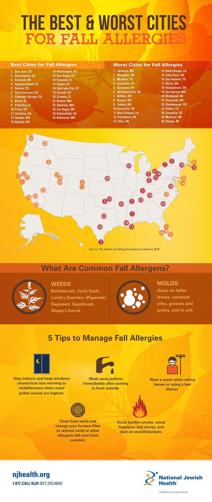The Best & Worst Cities for Fall Allergies