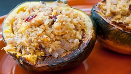 Stuffed Acorn Squash with Cranberry Sauce