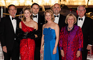 Michael Salem, MD, National Jewish Health President and CEO, with Beaux Arts Ball Grand Marshals Colleen and Javier Baz, Sheila and Hassan Salem, and Sharon and Lanny Martin. Photo by Jason Grubb.