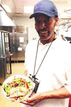Chef Carlton with grilled salmon salad recipe