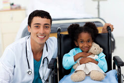 A doctor and patient involved in a pediatric clinical trial and research