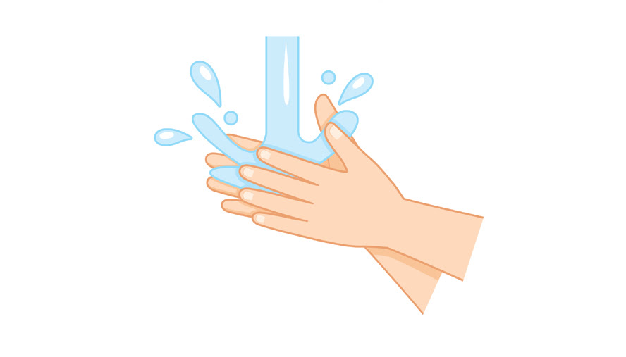 4. Rinse hands with water