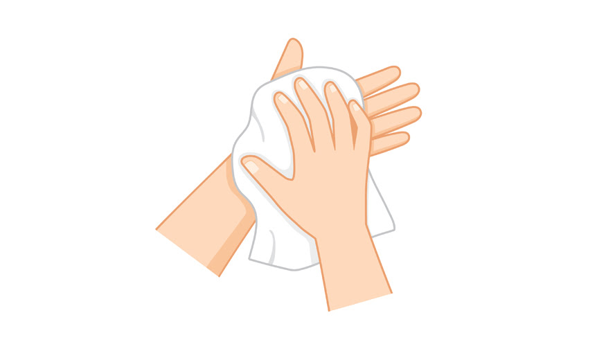 5. Dry hands with towel