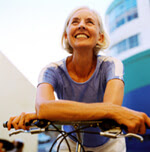Woman on a bike - osteoporosis