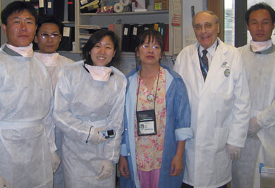 The world also comes to National Jewish Health. These North Korean doctors, posing with Leonid Heifets, MD, (second from right) Director of the Mycobacteriology Laboratory, learned how to set up effective programs for diagnosing and treating tuberculosis.