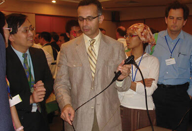 Ali Musani, MD, demonstrates an advanced bronchoscope at an interventional pulmonology and lung cancer course organized by Singapore General Hospital.