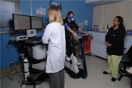 Patient exercising while being monitored.