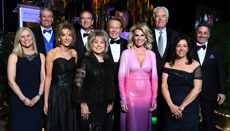 The 2020 Beaux Arts RIO Ball Grand Marshals Molly & Rob Cohen, Katherine Gold, National Jewish Health President and CEO, Michael Salem, MD, Judy & Charlie McNeil, Joy & Chris Dinsdale, and Kelly & Marc Steron.