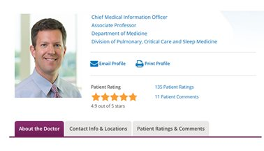 Online Physician Reviews Offer Information and Transparency for Patients at National Jewish Health