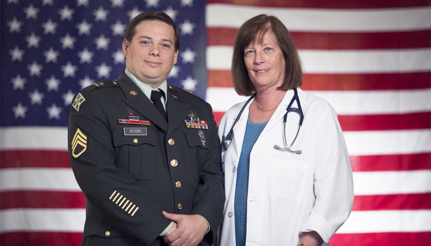 Army Staff Sgt. Adam DeVore is able to maintain his active status thanks to pulmonologist Cecile Rose, MD, MPH, who found the cause of his breathing problems.