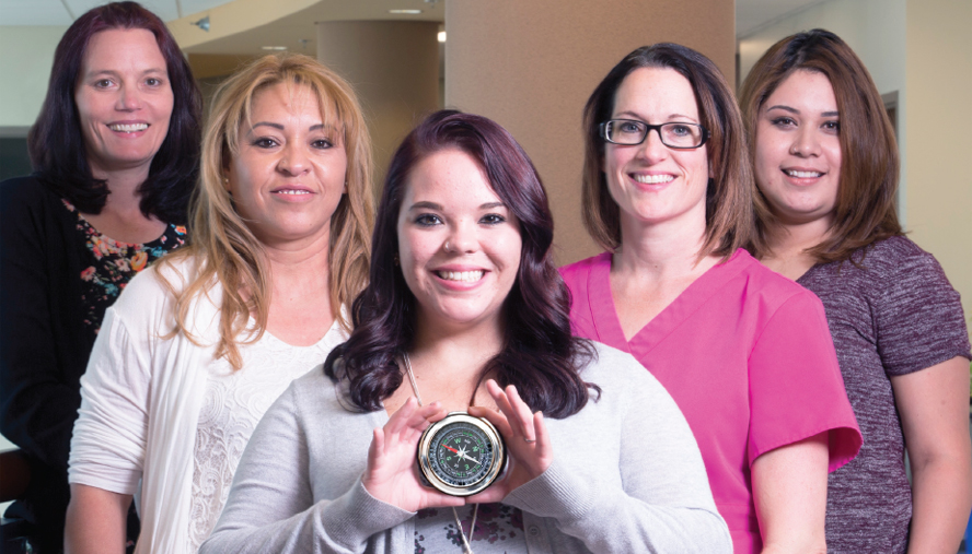 Navigators Julie Dezell, RN; Elizabeth Gonzalez, PN; Brittany Lee, PN; Elizabeth Johnson, RN, BSN, MBA; and Maria Carrillo, PN; help patients overcome barriers to obtaining and paying for health care.