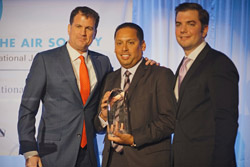 L to R Benefit Co Chair Roger A.  Silverstein, Honoree Michael A. Rodriguez, and Co-Chair Justin E. Magazine.