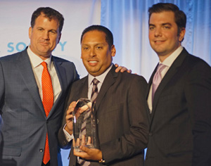 Above, L to R: Dinner Co-Chair Roger Silverstein, Honoree Michael Rodriguez and Dinner Co-Chair Justin Magazine