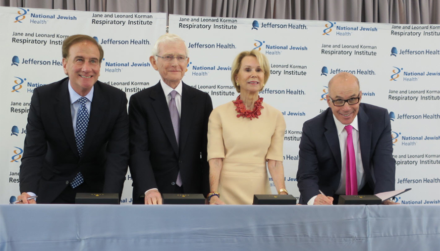 Today, Jefferson Health in Philadelphia and National Jewish Health, the nation's leading respiratory hospital, based in Denver, Colorado, announced an agreement to create the Jane and Leonard Korman Respiratory Institute in Philadelphia.