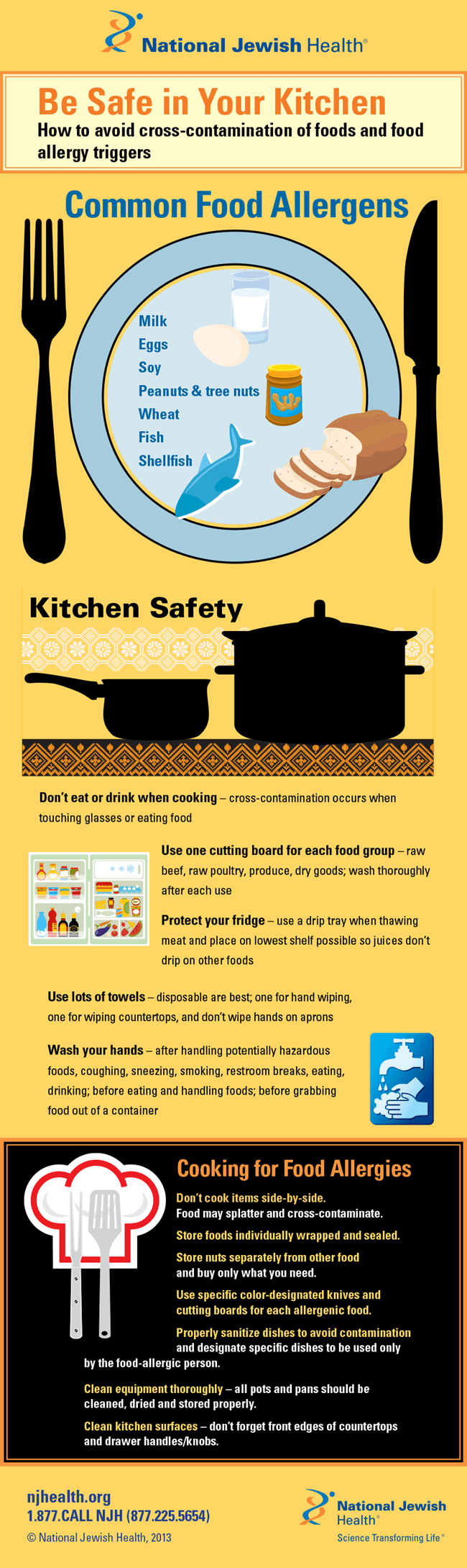 Be Safe in Your Kitchen: How to Avoid Cross-Contamination of Food and Food Allergy Triggers Infographic